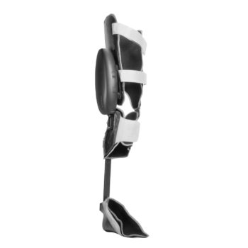 The Ottobock C-Brace prosthetic leg standing upright against a white background