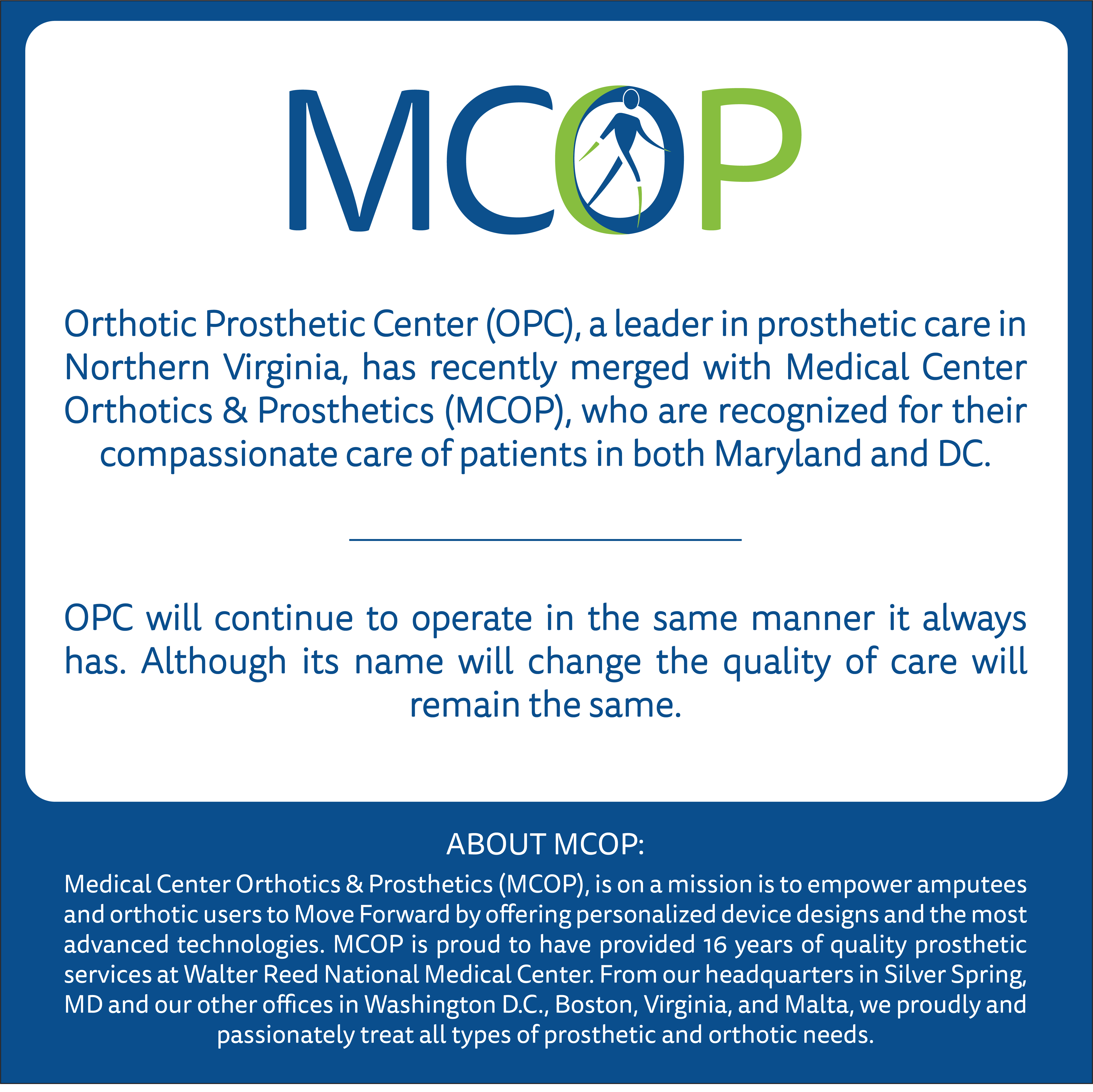 MCOP-branded infographic explaining the details of the MCOP/OPC merger
